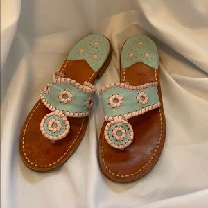 Baby blue and pink Jack Rogers sandals size 6M